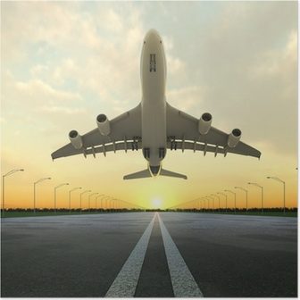 Poster Takeoff plane in airport bei Sonnenuntergang