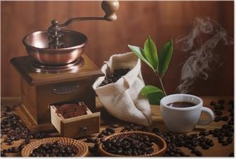 Poster Tasse Espresso Kaffeemühle mit Holz