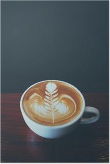 Poster Tasse Kaffee Latte Art in Coffee-Shop