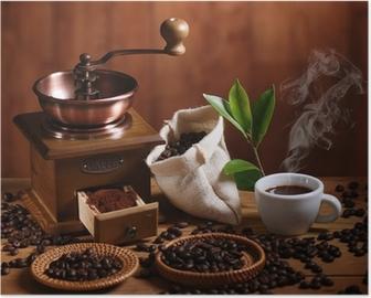 Poster Tazza di caffè espresso con macinino in legno