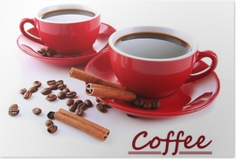 Poster Tazze rosse di forti caffè e chicchi di caffè isolati su bianco