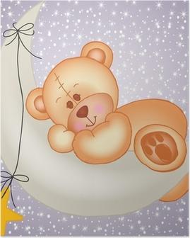 Poster Teddybär schläft auf einem Mond