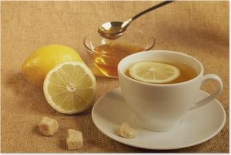 Poster Tee mit Zitrone und Honig