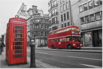 Poster Telefonzelle und rote Busse in London (UK)