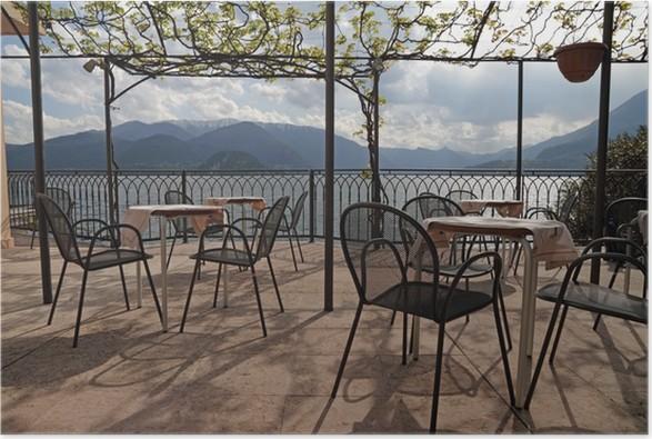 Poster Terrasse Am Comer See Lago Di Como Region Lombardei In