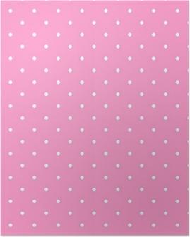 Poster Tile Vektor-Muster mit weißen Tupfen auf rosa Hintergrund