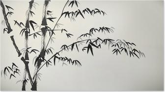 Poster Tinte gemalt Bambus