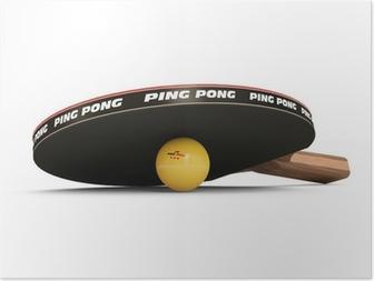 Poster Tischtennisschläger und Ball isoliert auf weißem Hintergrund