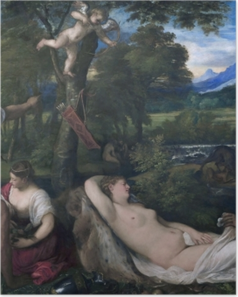 Poster Tizian - Jupiter und Antiope - Reproduktion