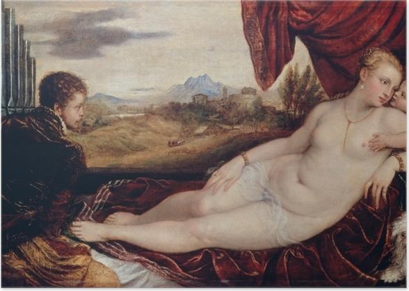 Poster Tizian - Venus mit dem Orgelspieler - Reproduktion