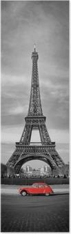 Poster Tour Eiffel et voiture rouge-Parigi