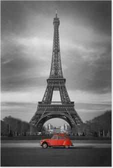 Poster Tour Eiffel et voiture rouge-Paris