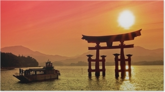 Poster Tramonto vista del Torii gate, Miyajima, Giappone