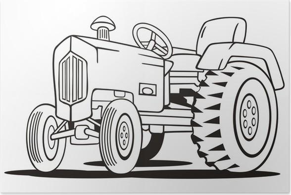 poster trattore da colorare template • pixers®  viviamo