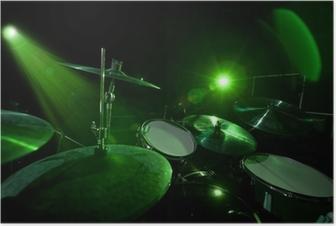 Poster Trommeln in der grünes Licht
