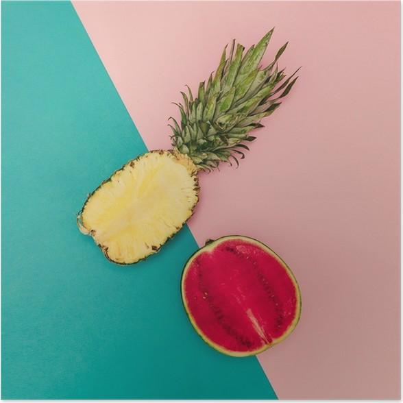 Poster Tropical Mix. Ananas und Wassermelone. minimal Stil - Lifestyle