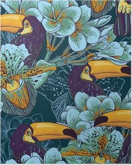 Poster Tropical nahtlose parrern mit Blumen und Toucan
