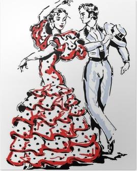 Poster Typisch spanischen Flamenco-Vektor-Illustration