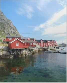 Poster Typische rorbu Dorf auf den Lofoten in Norwegen