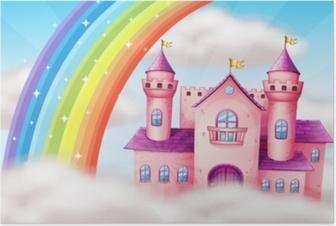 Poster Un bellissimo castello pastello e arcobaleno