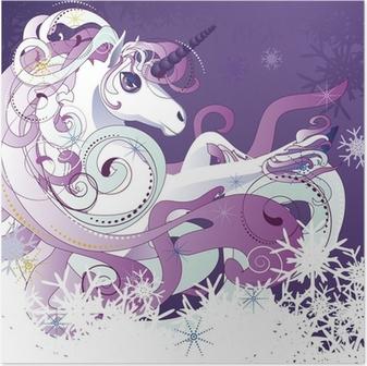 Poster Unicorno bianco