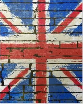 Poster Union Jack su uno sfondo muro di mattoni