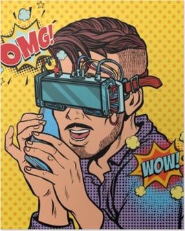 Poster Uomo hipster in occhiali per realtà virtuale parlando al telefono