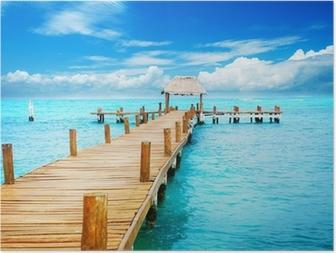 Poster Urlaub in Tropic Paradise. Jetty auf der Isla Mujeres, Mexiko