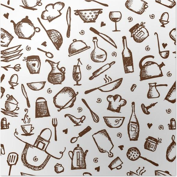 Poster Utensili da cucina schizzo, seamless pattern • Pixers ...