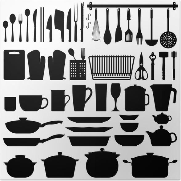 Poster Utensili da cucina Silhouette Vector • Pixers® - Viviamo per ...