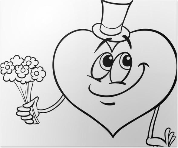 Poster Valentine Herz mit Blumen Malvorlagen • Pixers® - Wir leben ...