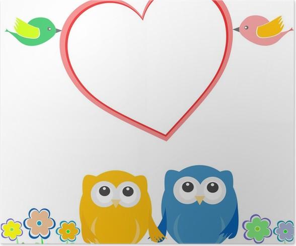 Poster Valentine-Karte mit Vogel Paar, Eulen und Liebe Herz • Pixers ...