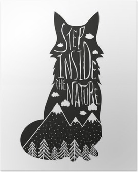 Poster Vector Hand Schriftzug Illustration gezeichnet. Treten Sie ein in die Natur. Typografie Plakat mit Fuchs, Berge, Kiefernwald und Wolken.