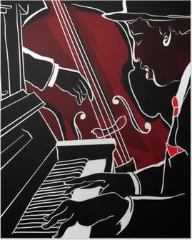 Poster Vector Illustration eines Jazz-Klavier und Kontrabass