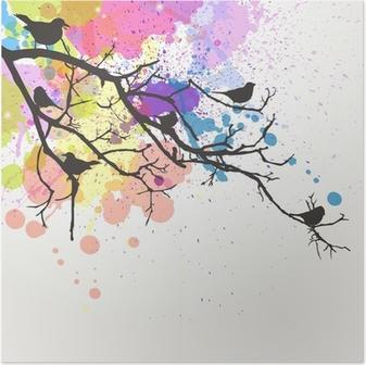 Poster Vector Ramo con uccelli su uno sfondo astratto