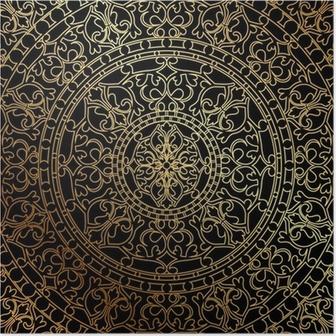 Poster Vector sfondo nero con ornamento di oro orientale