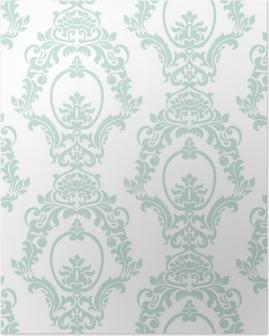 Poster Vector vintage damask pattern ornamento stile imperiale. elemento floreale ornato per tessuto, tessile, design, partecipazioni di nozze, biglietti di auguri, carta da parati. colore blu opale