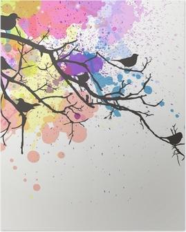 Poster Vector Zweig mit Vögeln auf einem abstrakten Hintergrund