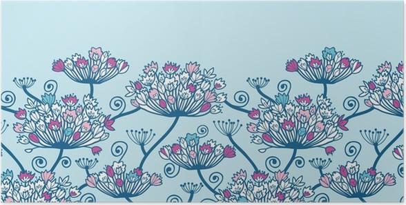Poster Vectpr Spring Flowers Horizontal Border Nahtloses Muster