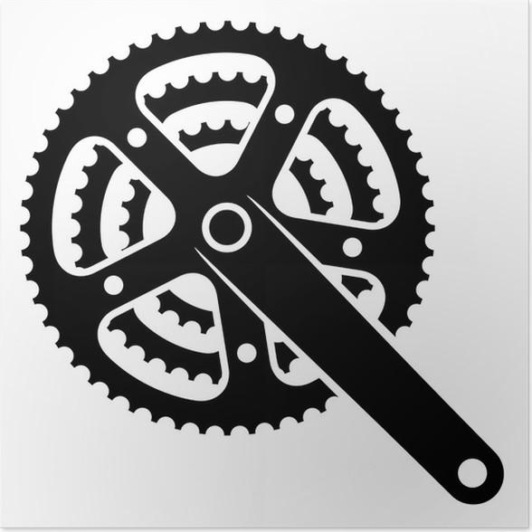 Poster Vektor-Fahrradzahnradritzel Kettenradgarnitur Symbol • Pixers ...