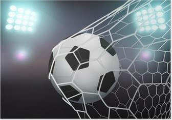Poster Vektor-Fußball im Tornetz auf Stadion mit Licht