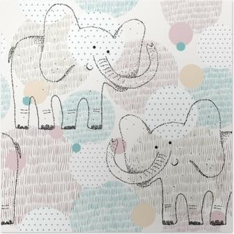 Poster Vektor gezeichnete nahtlose geometrische Muster mit Elefanten