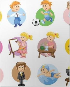 Poster Vektor-Illustration von Menschen aus verschiedenen Berufen