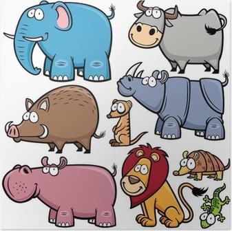 Poster Vektor-Illustration von Wildtieren Karikaturen