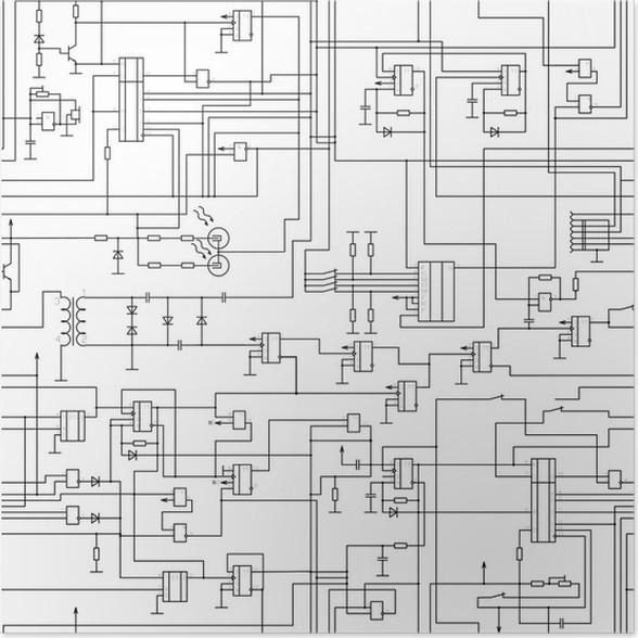 Poster Vektor nahtlose Muster elektrischen Schaltplan • Pixers ...