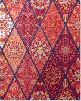 Poster Vektor nahtlose Textur. schönes Mega-Patchwork-Muster für Design und Mode mit dekorativen Elementen