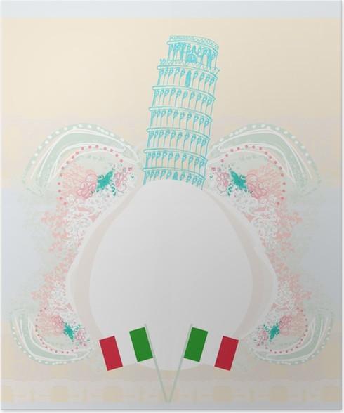 Pisa Karte.Poster Vektor Pisa Tower Karte