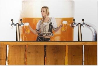 Poster Verrückt oktoberfest Stil mit sexy tiroler Mädchen mit Bier