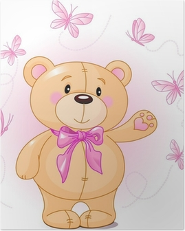 Poster Very cute Teddybär Verzicht hallo