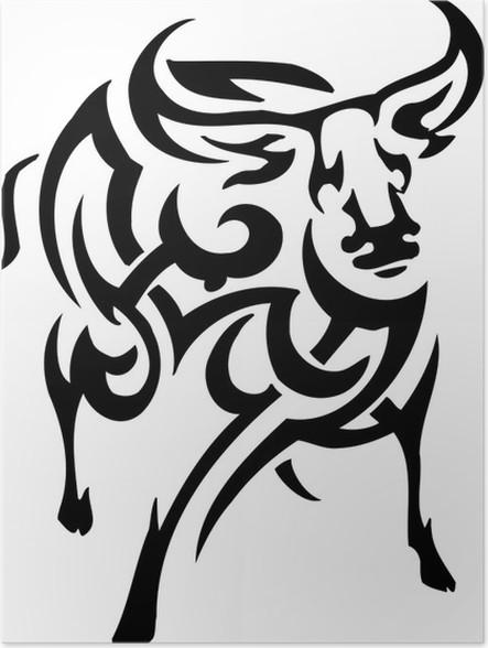 Poster Vettore vilyl-ready illustrazione - animali in stile tribale - Animali immaginari